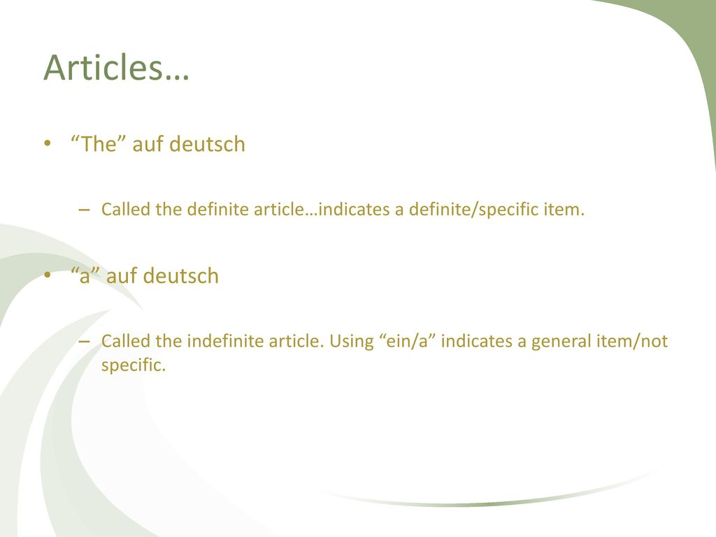 Articles… The auf deutsch a auf deutsch