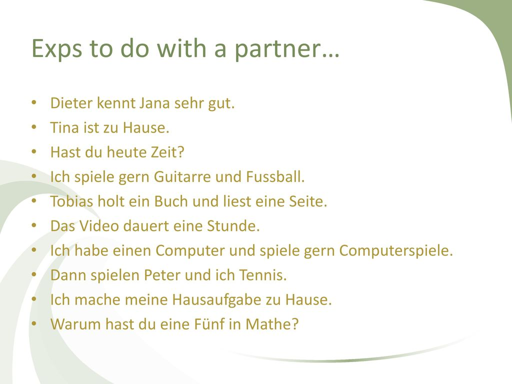 Exps to do with a partner…