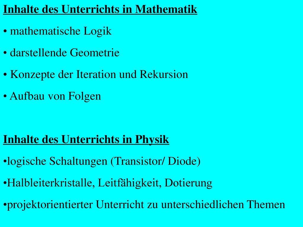 Informatik/Mathematik (1. Jahr) bzw. Informatik/Physik (2. Jahr)