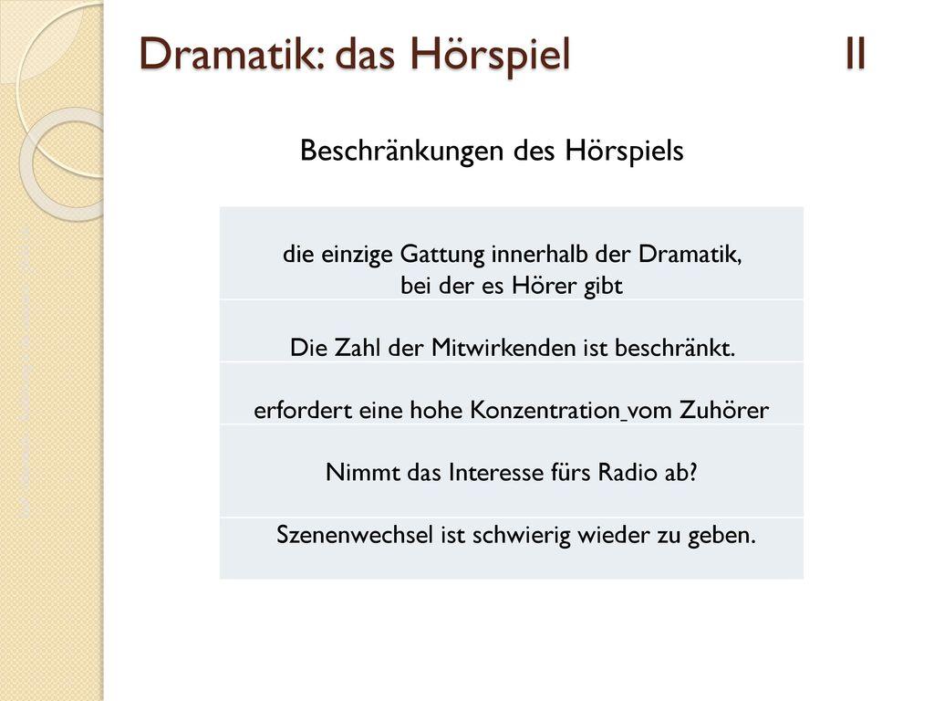 Dramatik: das Hörspiel II