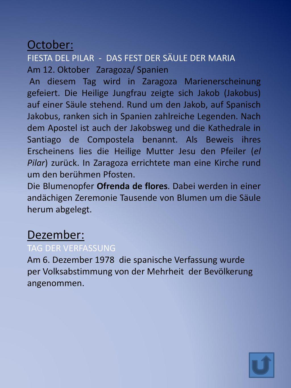 October: Dezember: FIESTA DEL PILAR - DAS FEST DER SÄULE DER MARIA