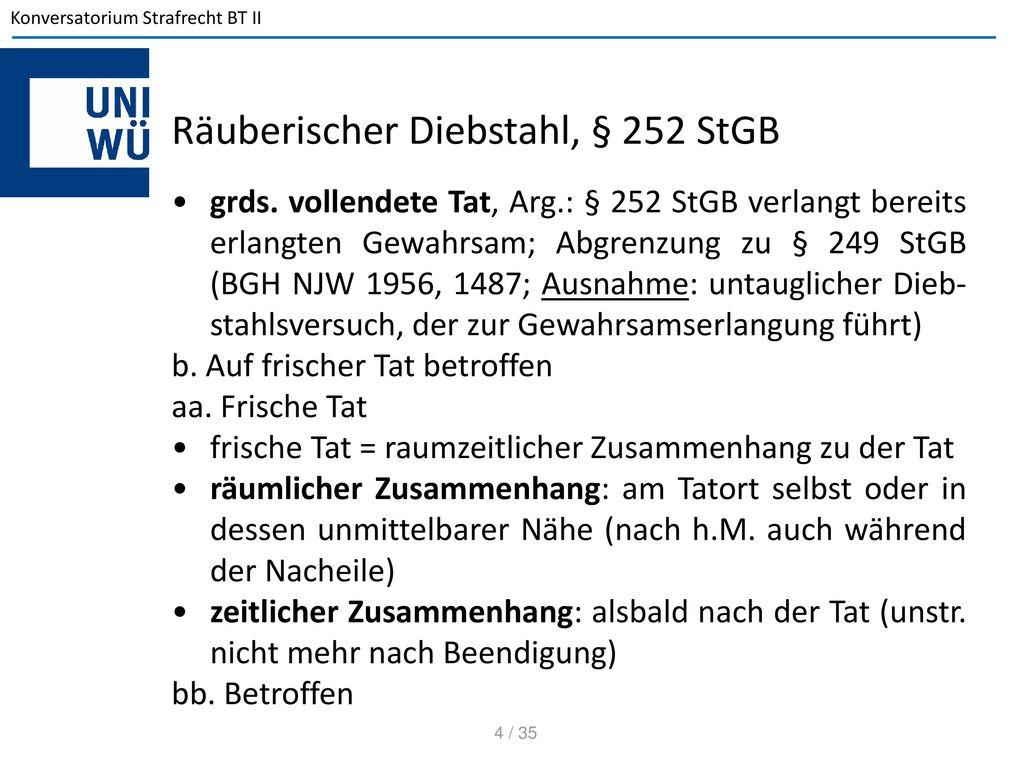 Räuberischer Diebstahl, § 252 StGB