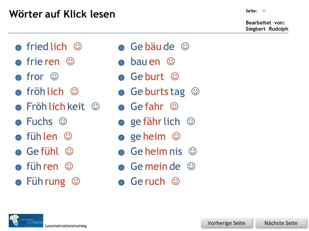Wörter auf Klick lesen fried lich J Ge bäu de J frie ren J bau en J