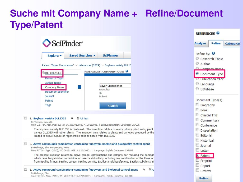 Suche mit Company Name + Refine/Document Type/Patent