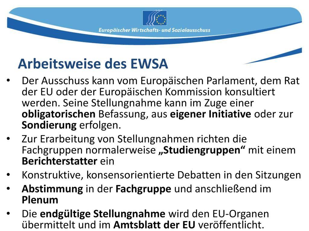 Arbeitsweise des EWSA