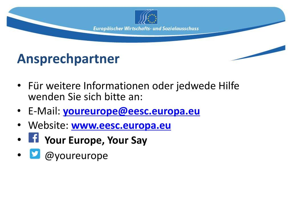 Ansprechpartner Your Europe, Your Say @youreurope