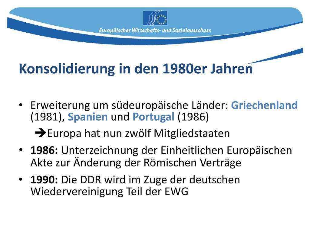 Konsolidierung in den 1980er Jahren