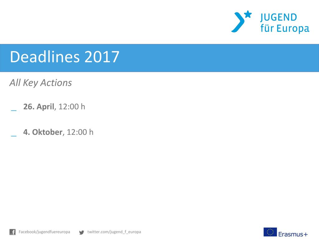 Deadlines 2017 All Key Actions 26. April, 12:00 h 4. Oktober, 12:00 h