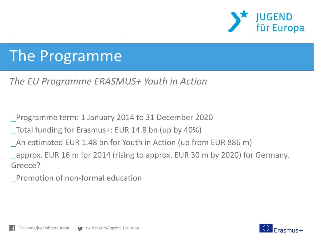 The Programme The EU Programme ERASMUS+ Youth in Action