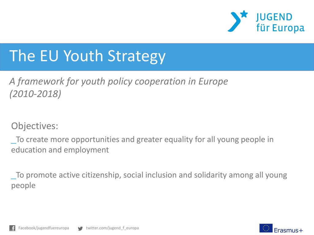 The EU Youth Strategy A framework for youth policy cooperation in Europe. (2010-2018) Objectives: