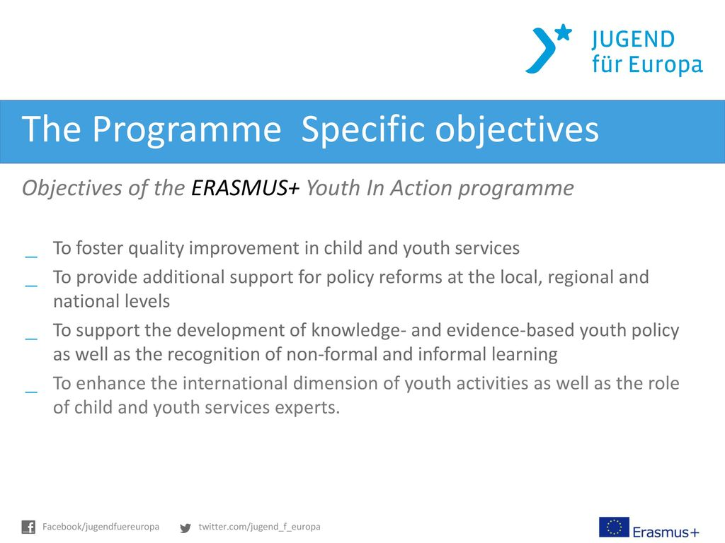 The Programme  Specific objectives