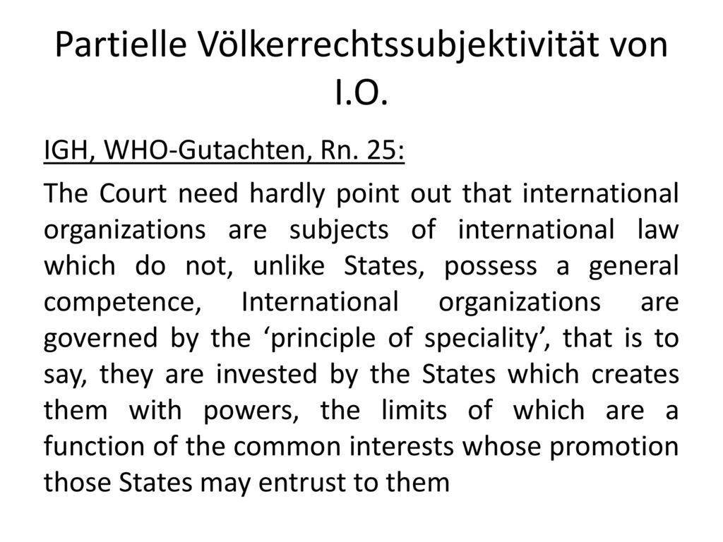 Partielle Völkerrechtssubjektivität von I.O.