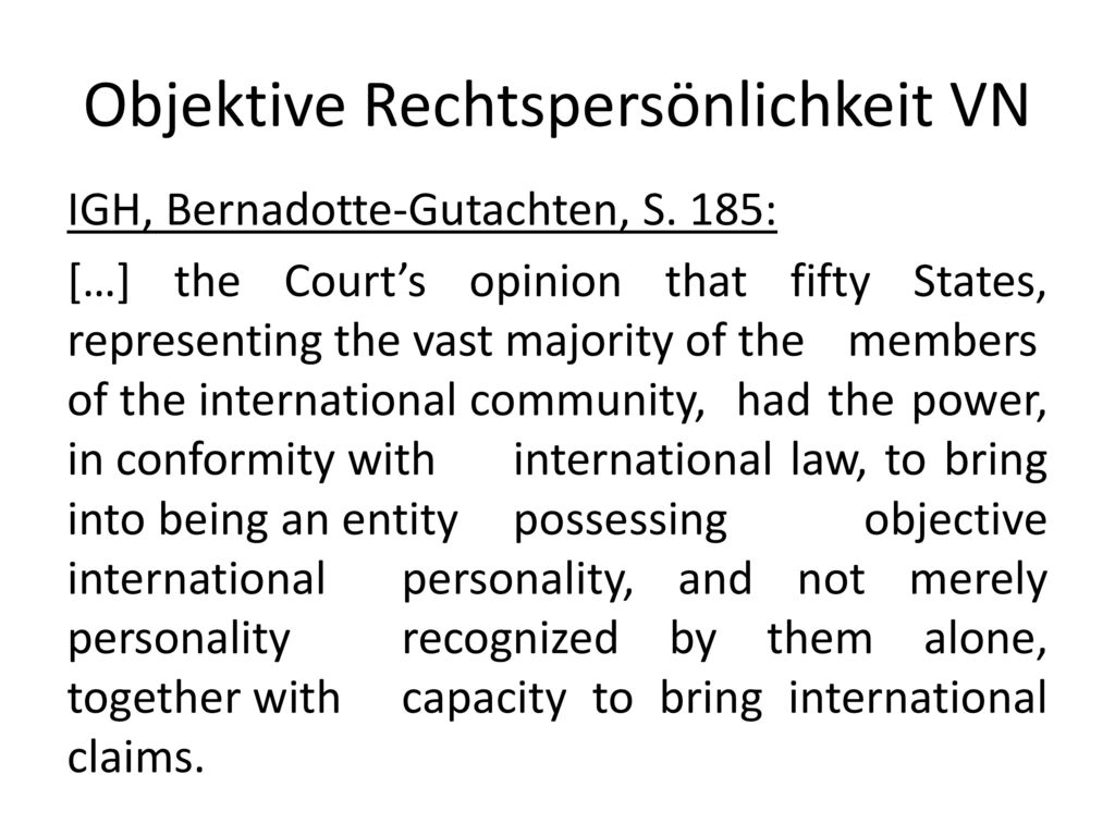 Objektive Rechtspersönlichkeit VN