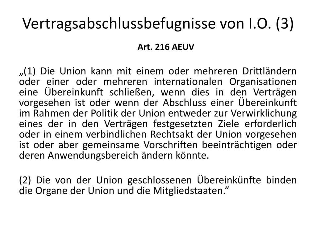 Vertragsabschlussbefugnisse von I.O. (3)