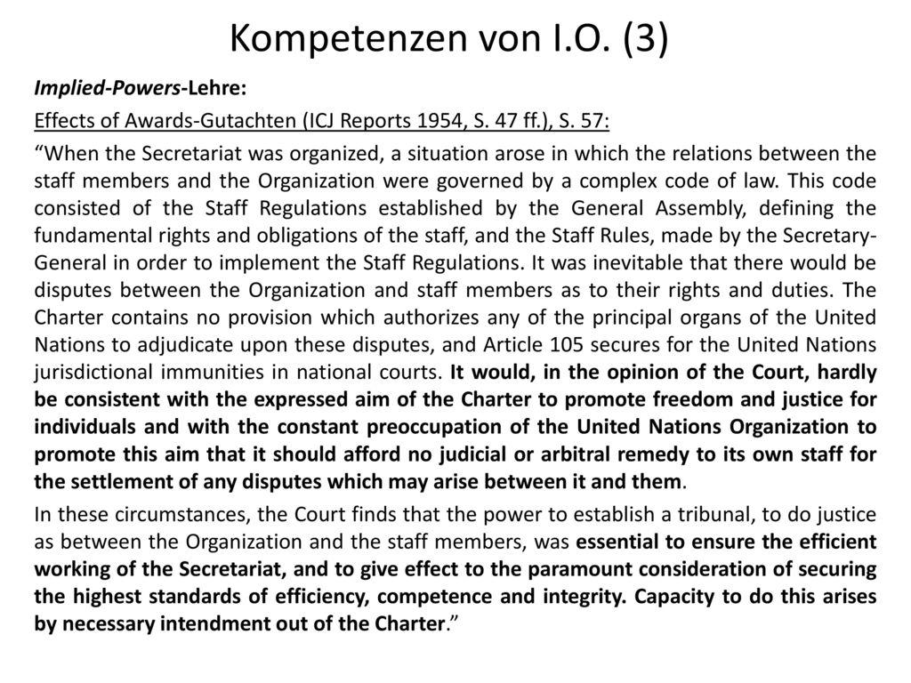 Kompetenzen von I.O. (3) Implied-Powers-Lehre: