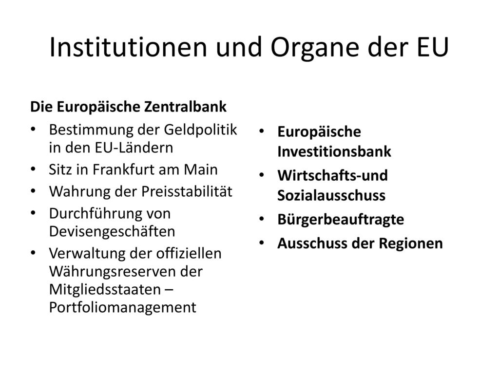 Institutionen und Organe der EU