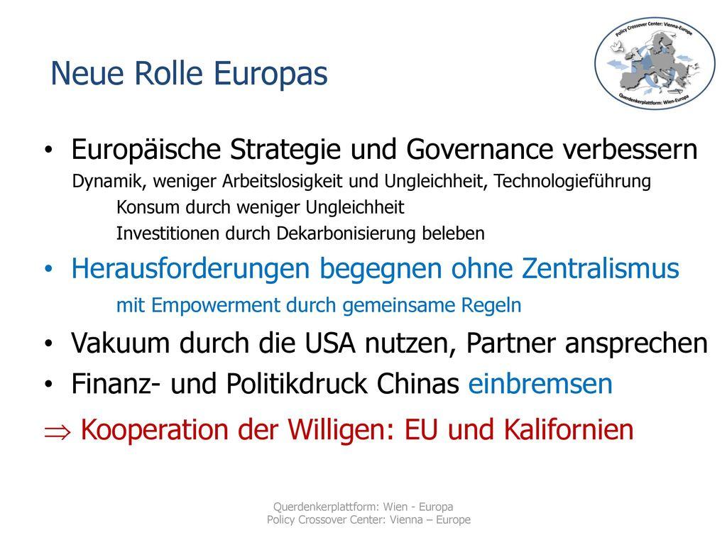 Neue Rolle Europas Europäische Strategie und Governance verbessern