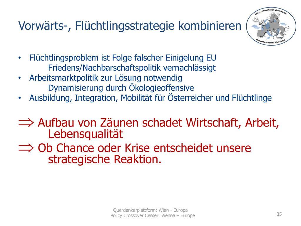 Vorwärts-, Flüchtlingsstrategie kombinieren