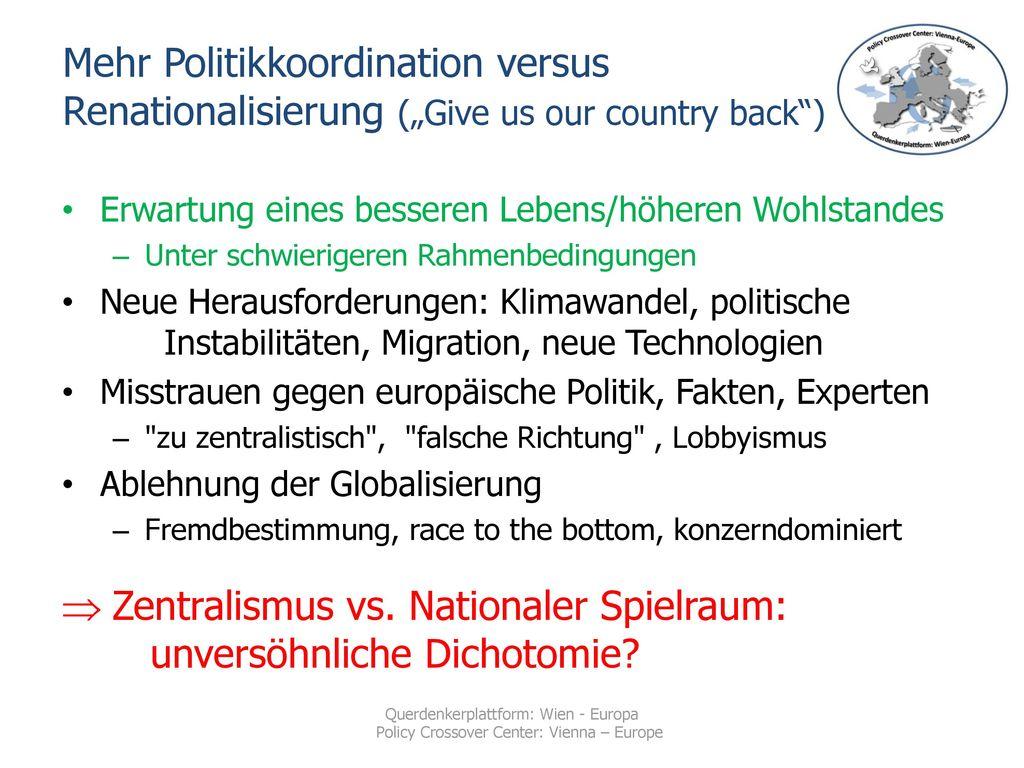 "Mehr Politikkoordination versus Renationalisierung (""Give us our country back )"