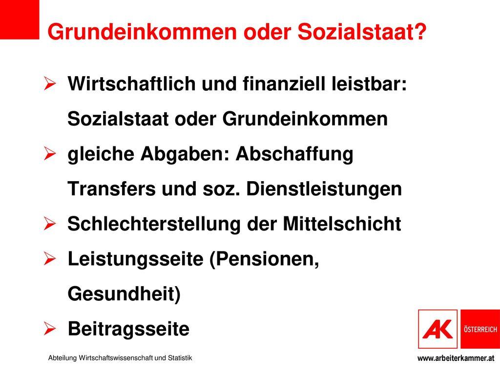 Grundeinkommen oder Sozialstaat