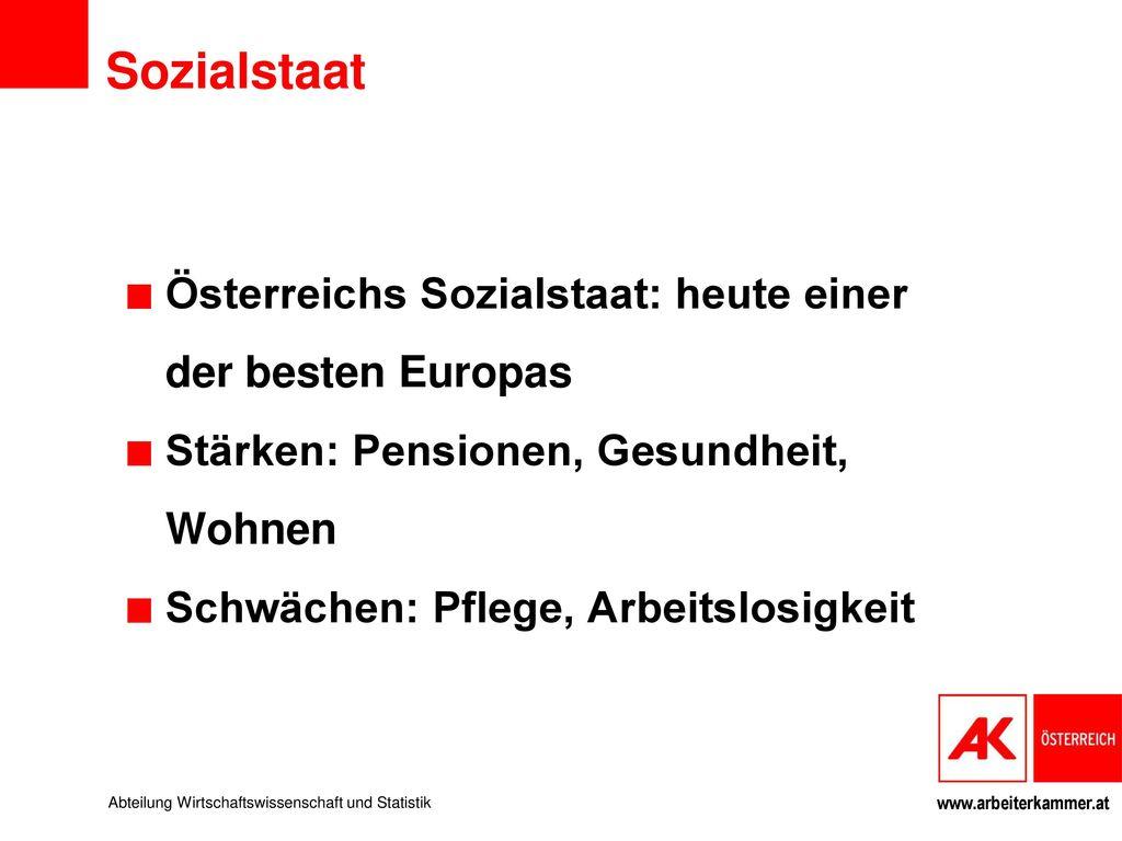 Sozialstaat Österreichs Sozialstaat: heute einer der besten Europas