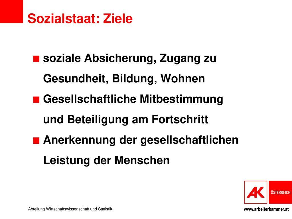 Sozialstaat: Ziele soziale Absicherung, Zugang zu Gesundheit, Bildung, Wohnen. Gesellschaftliche Mitbestimmung und Beteiligung am Fortschritt.