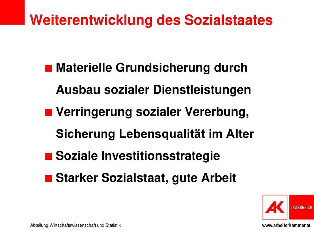 Finanzierbarkeit des Sozialstaates