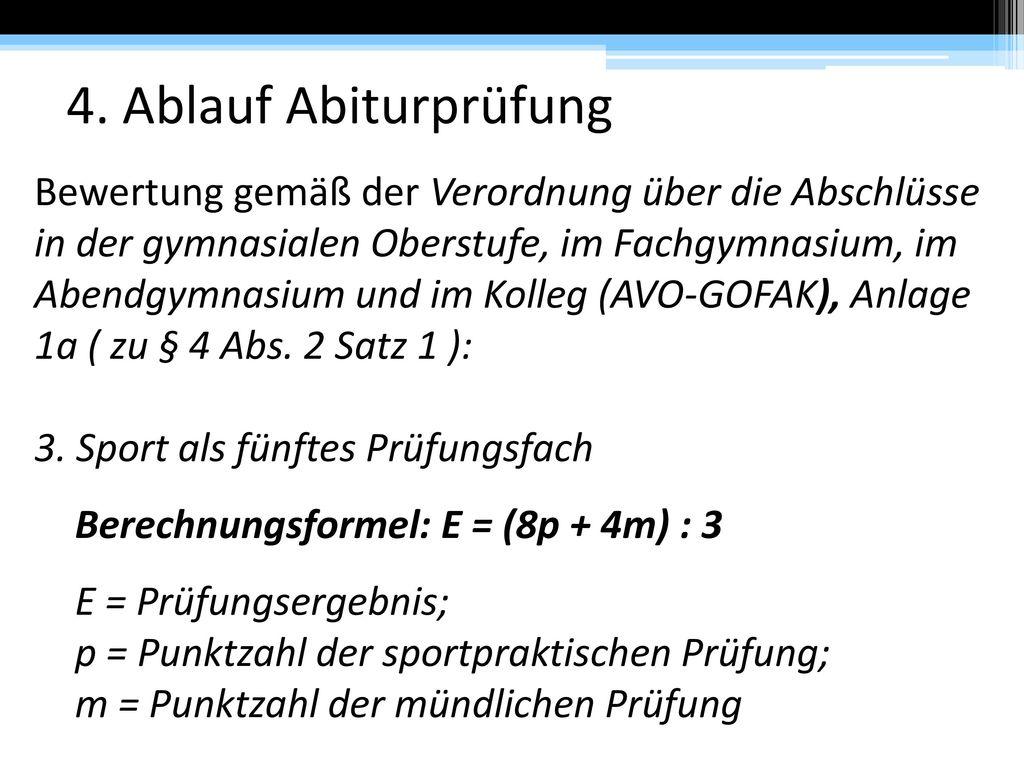 4. Ablauf Abiturprüfung