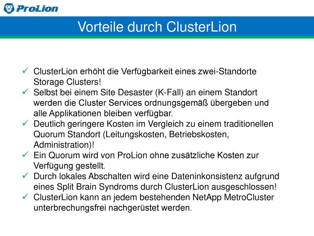 Vorteile durch ClusterLion