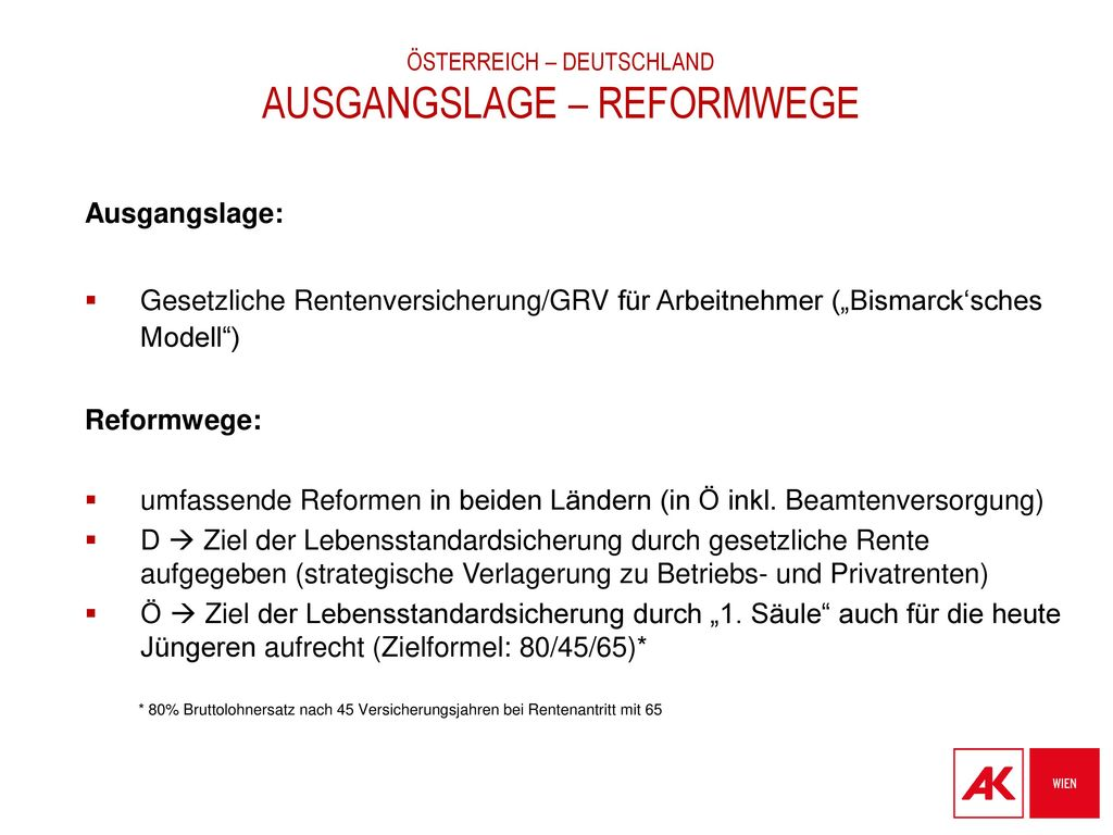 Österreich – Deutschland ausgangslage – reformwege
