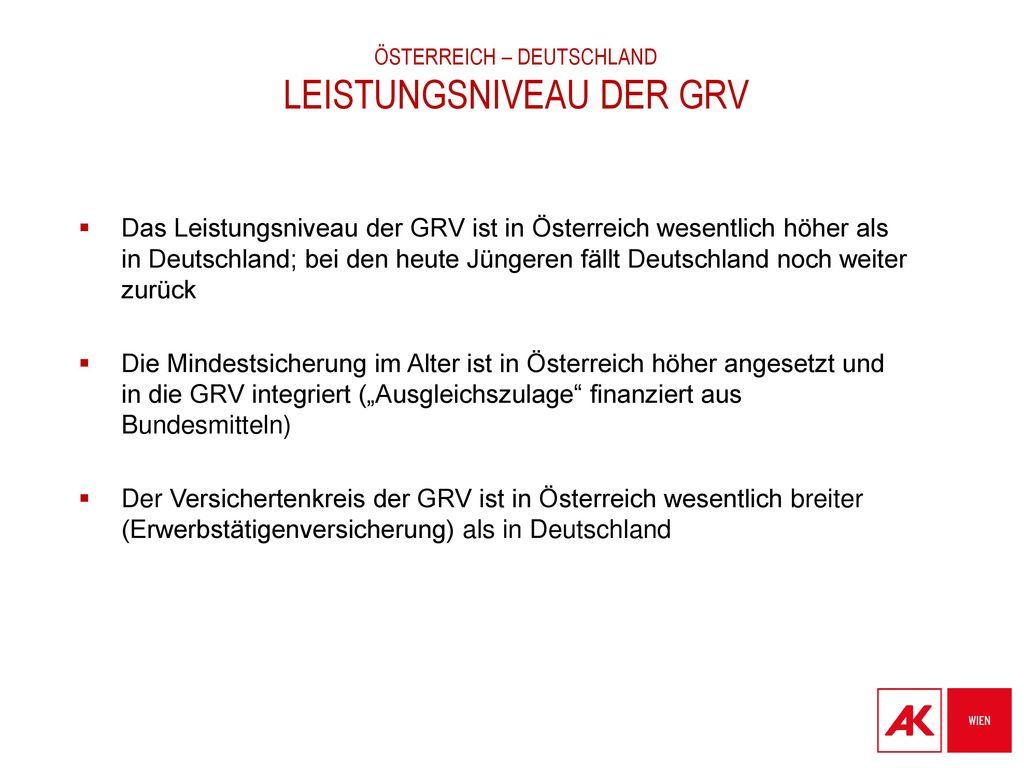 Österreich – Deutschland Leistungsniveau der GRV