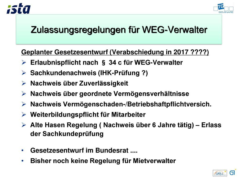 Zulassungsregelungen für WEG-Verwalter