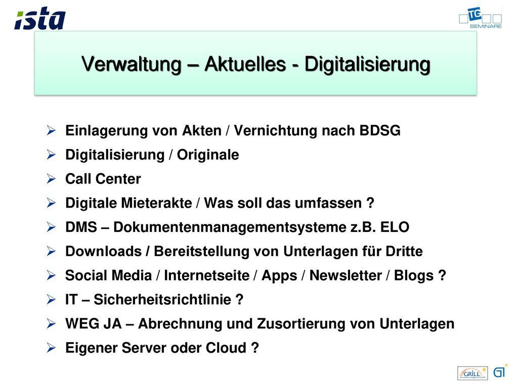 Verwaltung – Aktuelles - Digitalisierung