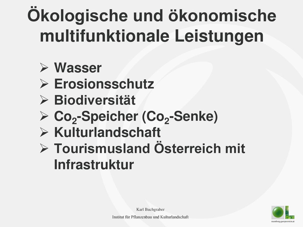 Ökologische und ökonomische multifunktionale Leistungen