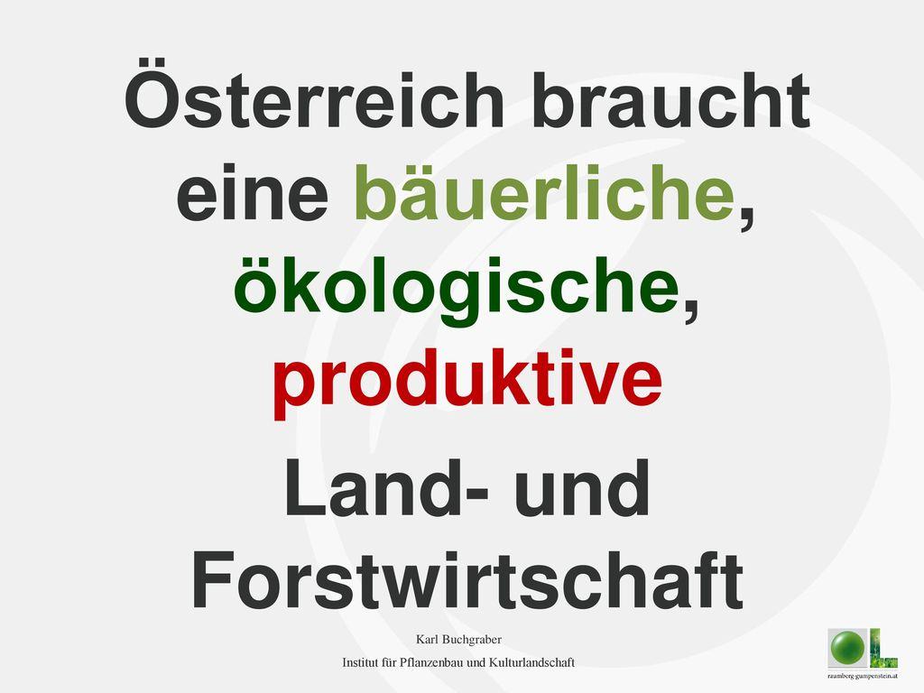 Österreich braucht eine bäuerliche, ökologische, produktive