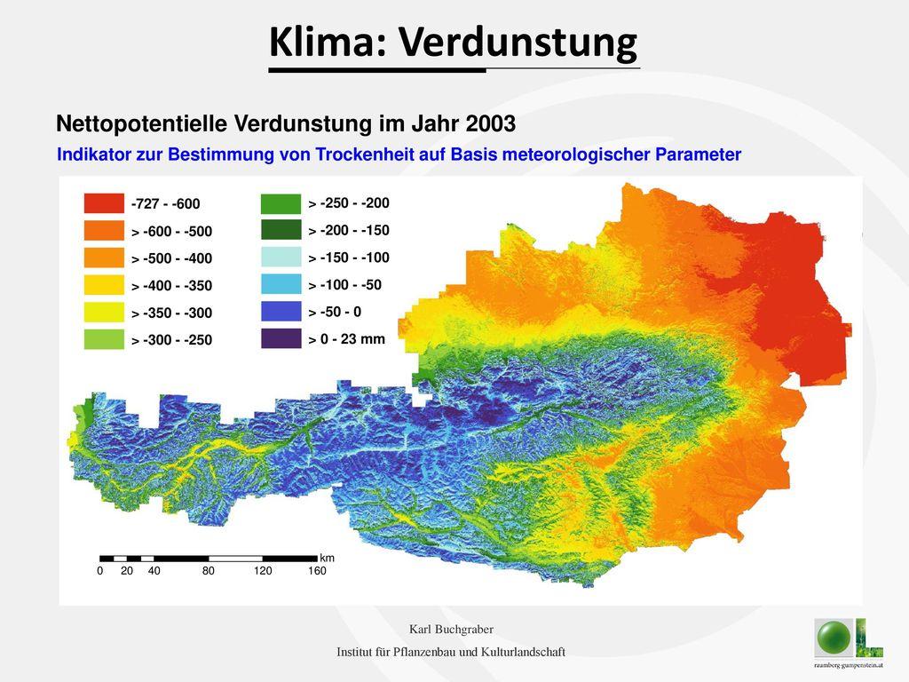 Klima: Verdunstung Nettopotentielle Verdunstung im Jahr 2003