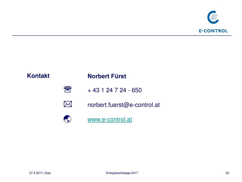  norbert.fuerst@e-control.at  www.e-control.at