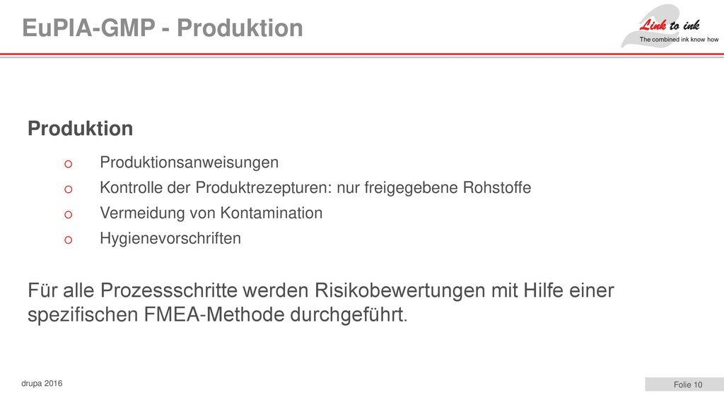 EuPIA-GMP - Produktion