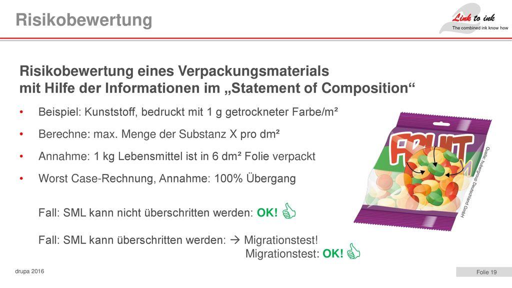 """Risikobewertung Risikobewertung eines Verpackungsmaterials mit Hilfe der Informationen im """"Statement of Composition"""