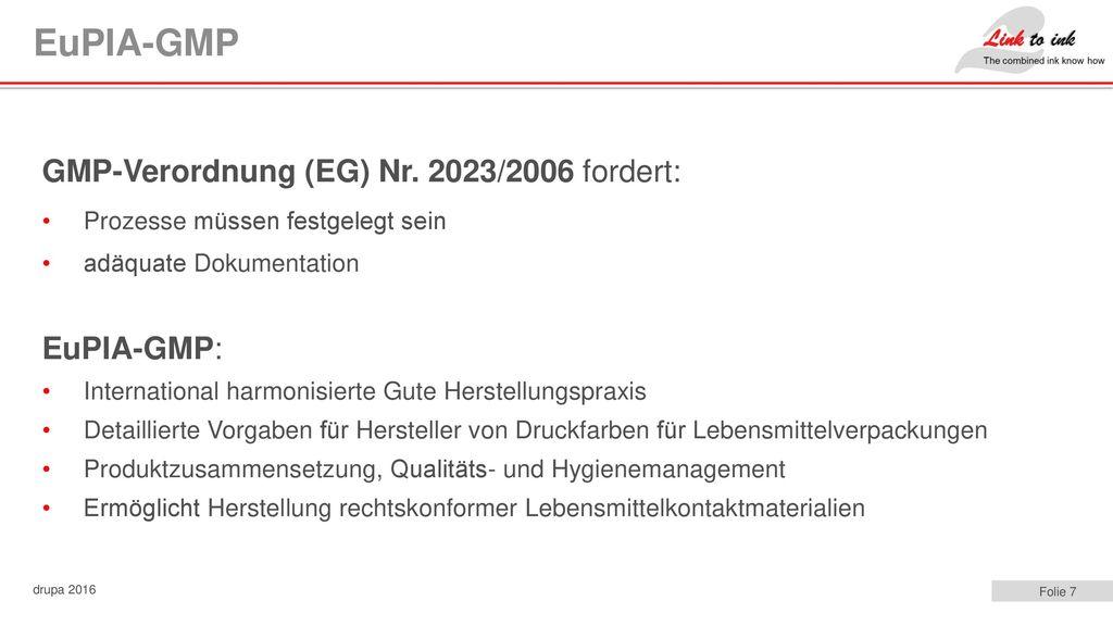 EuPIA-GMP GMP-Verordnung (EG) Nr. 2023/2006 fordert: EuPIA-GMP: