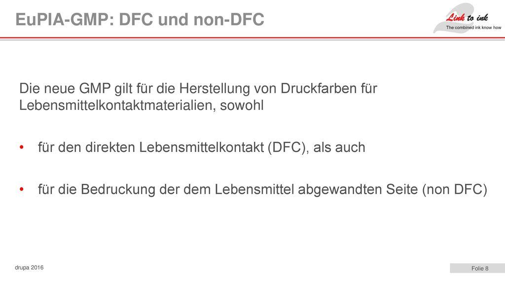 EuPIA-GMP: DFC und non-DFC