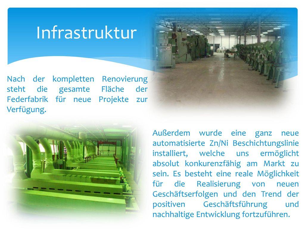 Infrastruktur Nach der kompletten Renovierung steht die gesamte Fläche der Federfabrik für neue Projekte zur Verfügung.