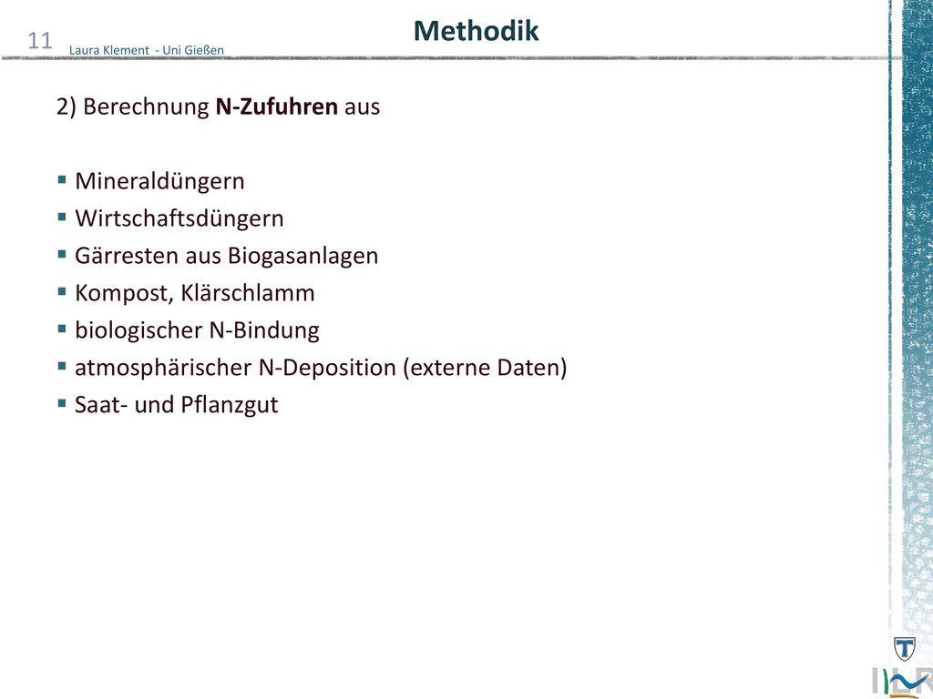 Methodik 2) Berechnung N-Zufuhren aus Mineraldüngern