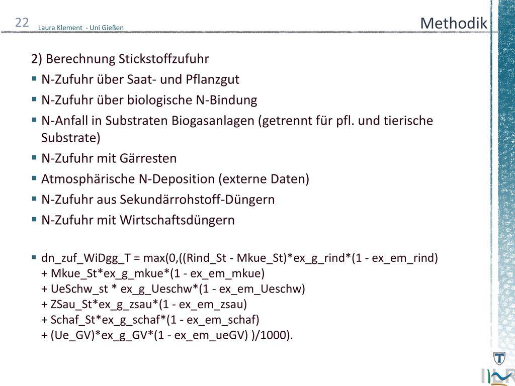 Methodik 2) Berechnung Stickstoffzufuhr
