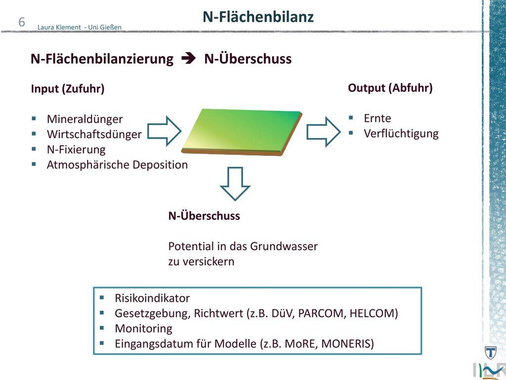 N-Flächenbilanz N-Flächenbilanzierung  N-Überschuss Input (Zufuhr)