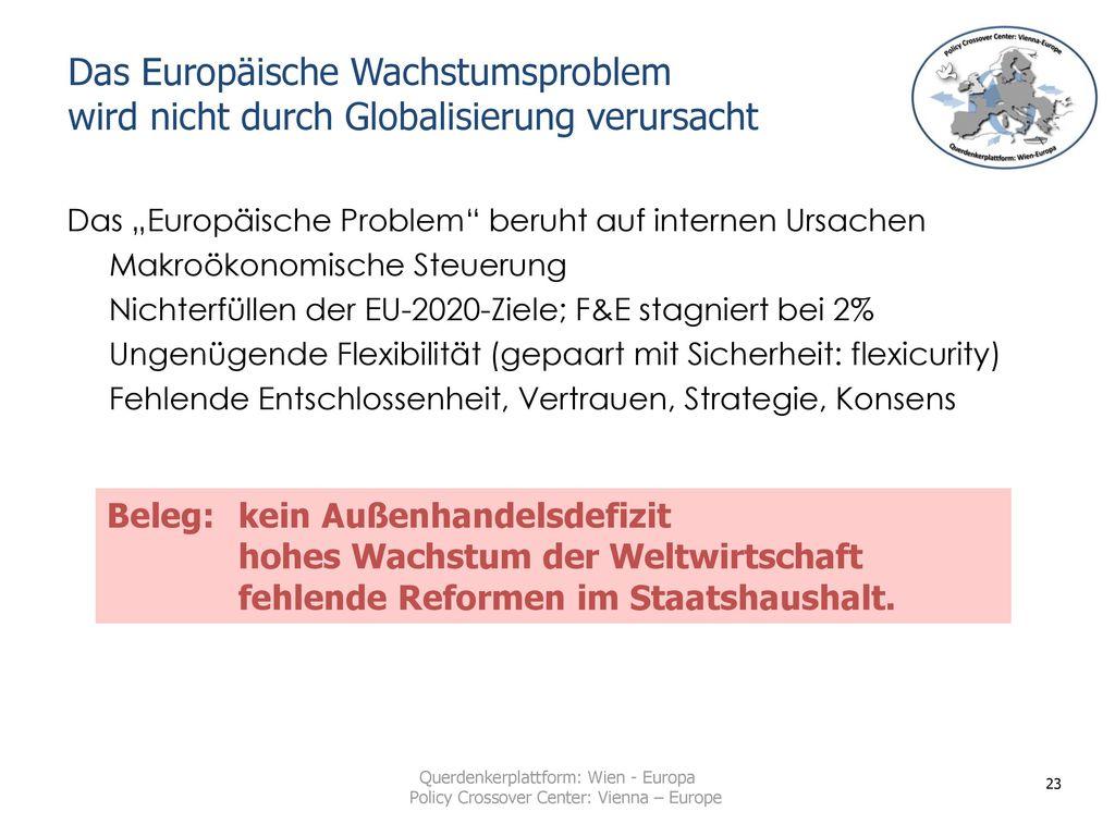 Das Europäische Wachstumsproblem wird nicht durch Globalisierung verursacht