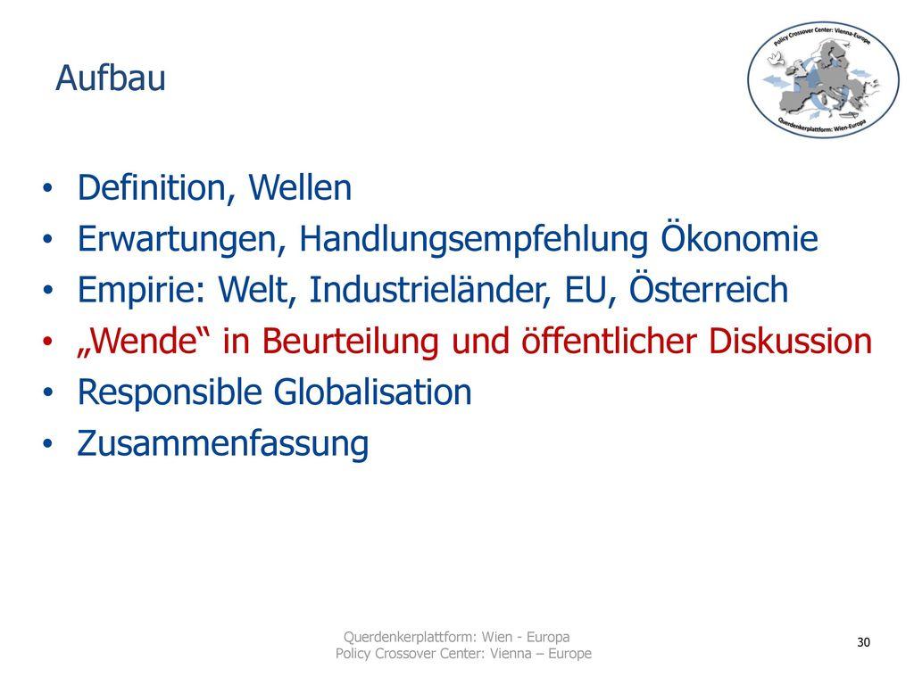 Aufbau Definition, Wellen. Erwartungen, Handlungsempfehlung Ökonomie. Empirie: Welt, Industrieländer, EU, Österreich.