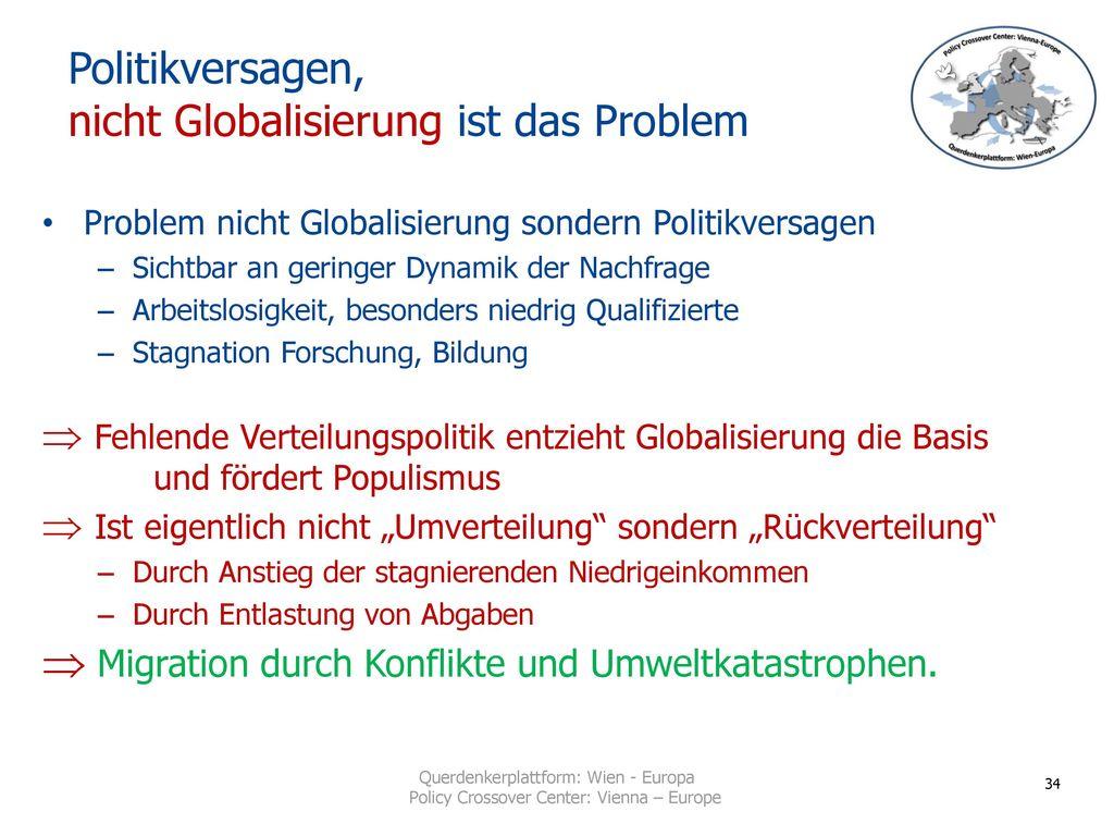 Politikversagen, nicht Globalisierung ist das Problem