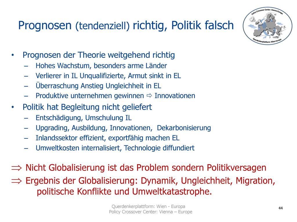 Prognosen (tendenziell) richtig, Politik falsch