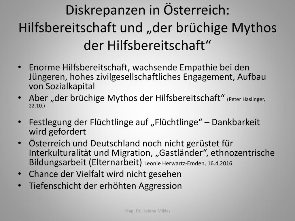 """Diskrepanzen in Österreich: Hilfsbereitschaft und """"der brüchige Mythos der Hilfsbereitschaft"""